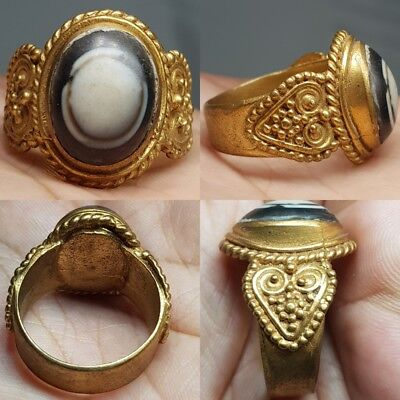 Sulaimany Old Agate stone Gold Gilding Antique Lovely Ring  # f1