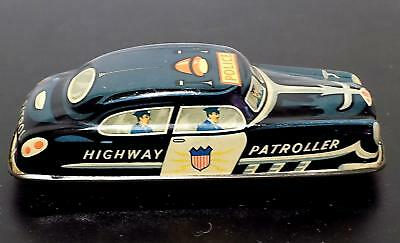 Vintage Tinplate Friction Police Highway Patroller Car, Poss Wells or Mettoy?
