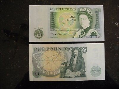 British One Pound Notes, uncirculated, mint condition. Consecutive sets.