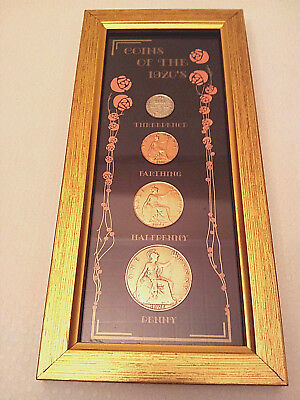 Coins of the 1920s in Frame - Penny, Half Penny, Farthing, and Theepence