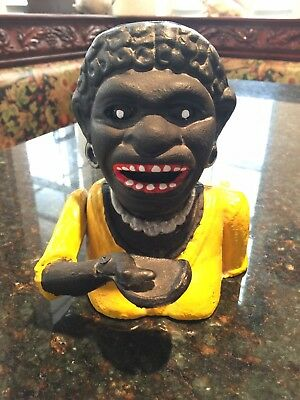 Vintage Black Americana Cast Iron Mechanical Bank Eyes and Arm Move