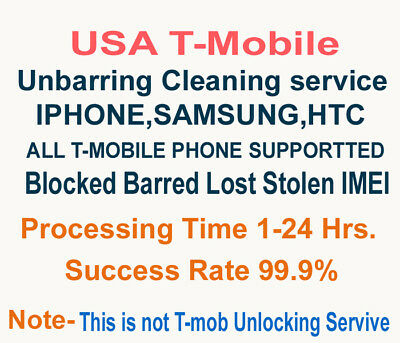 USA TMobile Bad ESN Cleaning Service Unbar Remove Blacklist for Apple iPhone 6 7