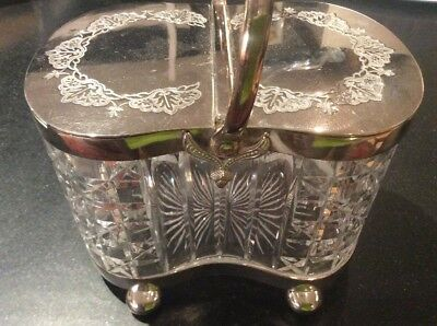 Antique Rare Cut Glass Silver Plated Biscuit Cracker Barrel