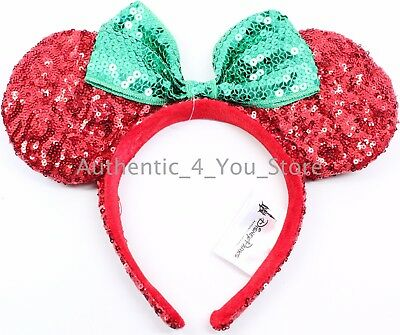 NEW Disney Minnie Mouse Ears Red Green Sequin Headband w/ Bow Christmas Holiday