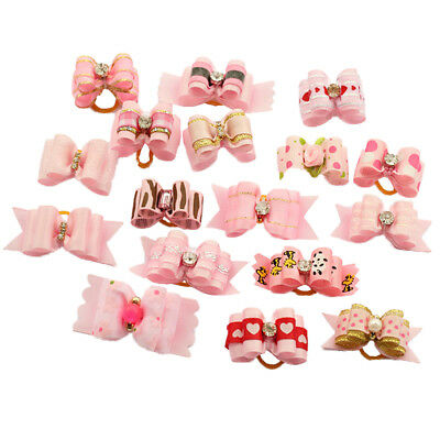 10X Pink Rhinestone Pet Hair Bow Rubber Bands Dog Cat  Ribbon Grooming Accessory