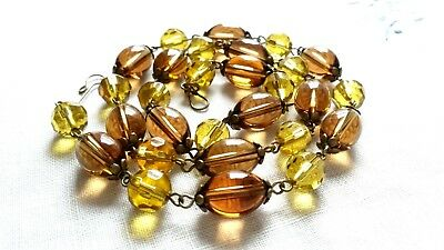 Czech Earth Tone Glass Bead Necklace Vintage Deco Style