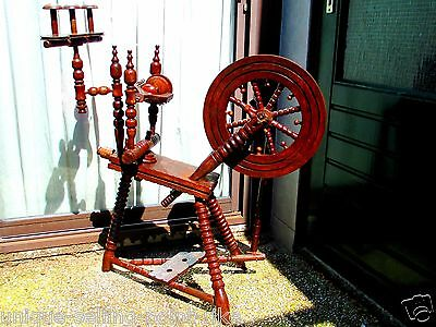 Antique 1940s Dutch Real Working Oak Wooden Spinning Wheel - Home Made