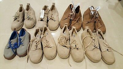 Boys  lot of 10 Brown/cream colored Dress Shoes Sizes 9, 13, 1, 2