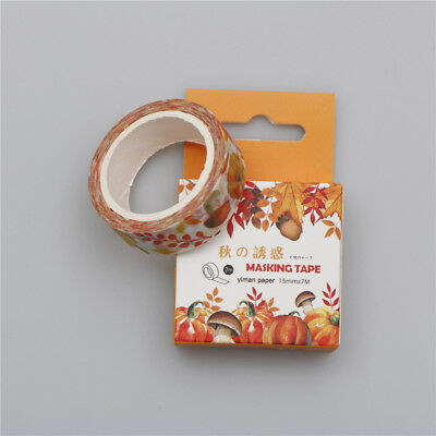 7M Leaves/fruit Washi Sticker Decor Roll Paper Masking Adhesive Tape Crafts FG