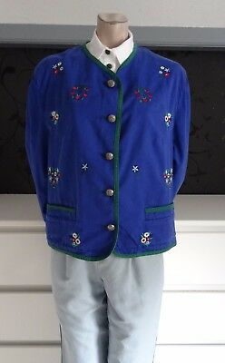German Casual Cotton Trachten Jacket Edelweiss Embroidery 14