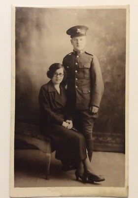 vintage postcard, WW1, Soldier and wife, Cavalry, Lancers, real photo