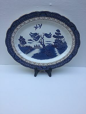 """Vintage Booths Real Old Willow  England Gilt Edged Oval Platter Dish 14""""x11"""""""