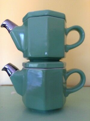 Vintage pair Hall teapots stacking hexagonal green silver luster spout 12 oz