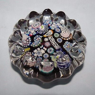 John Deacons Glass Scotland Flower Shape Purple Millefiori Paperweight