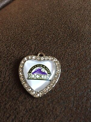 COLORADO ROCKIES Heart Shaped Pendant For Necklace Crystals MLB Baseball