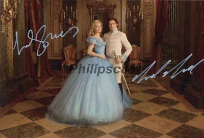 Lily James & Richard Madden Cinderella Genuine Autographed 12x8 photograph