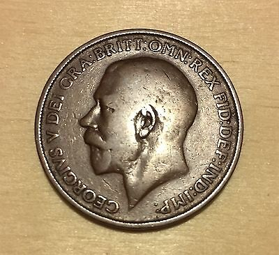 1911 British One Penny Bronze Coin - Good Condition