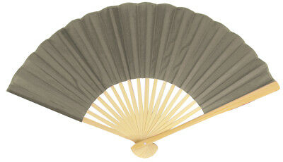 """9"""" Gray / Grey Silk Hand Fans for Weddings (50 PACK)"""