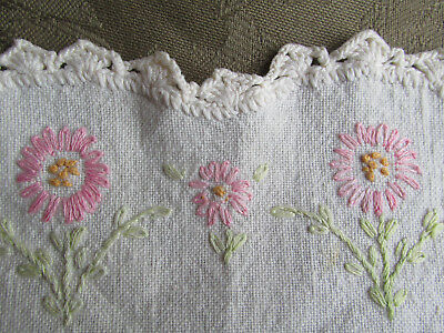 2 Vintage Hand Embroidered Crochet Trimmed Cotton Doilies