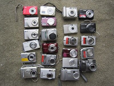 Lot of 23 Assorted Digital Cameras As/Is Untested Canon, Nikon, Kodak, HP Casio
