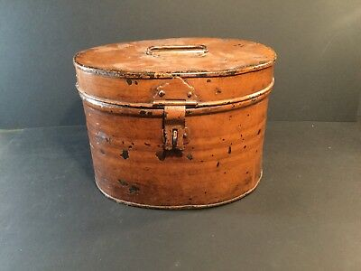 Antique Vtg Victorian Metal Tin Hat Box With Handle