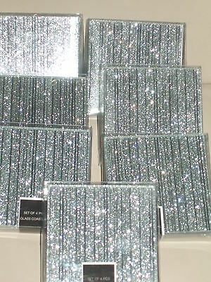6 X Glass Glitter Mirrored Silver Table Coaster, Sparkly Dining wedding candle