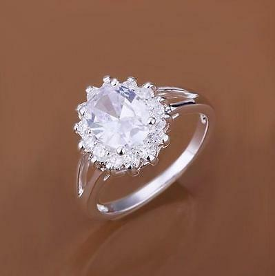 100% New Luxury fashion Christams Gift Jewelry 925Silver Crystal Ring Rings
