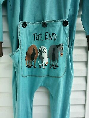 Lazy One Tail End One Piece Flapjack Pajamas Long Johns Union Suit Large Blue