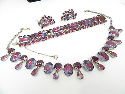 JULIANA Watermelon Red Blue Givre Glass Rhinestone Necklace/Earring/Brooch Set