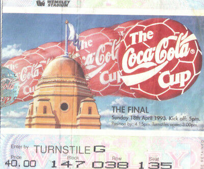 Arsenal v Sheffield Wednesday ticket stub coca cola cup 18/04/1993