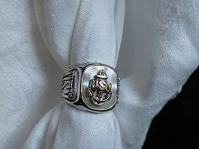 Ostby Barton Men Ww2 Navy  Sterling Ring Sz 8.5 Titanic Mint Not Scrap
