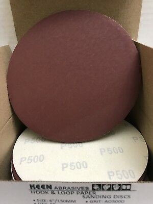 "500 Grit, Keen Abrasives #74101, 6"" Dia Hook & Loop Sandpaper, 25 Pk"