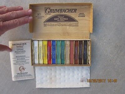 Grumbacher Vintage Finest 12 Soft Pastels for Artists Free Shipping