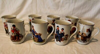 Lot Of 8 Coffee Mugs Cups Norman Rockwell Museum 1982 Gold Trim