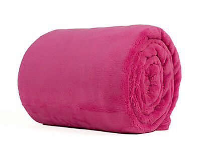 Hot Pink King Size Plush Fleece Blanket Soft Luxury Warm Home Sofa Bed Throw