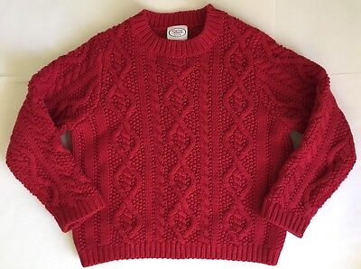 Talbots Kids Chunky Red Crewneck Cotton Pullover Sweater Size 4 Unisex Boy/Girls