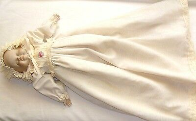 Vintage Porcelain Face Baby Doll, Cloth Body, Bisque Arms & Legs