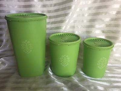 Vintage Tupperware  Canisters Set of 3 ~   Retro Bright Green!