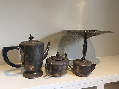 Antique Silver Tea Set With Cake Stand