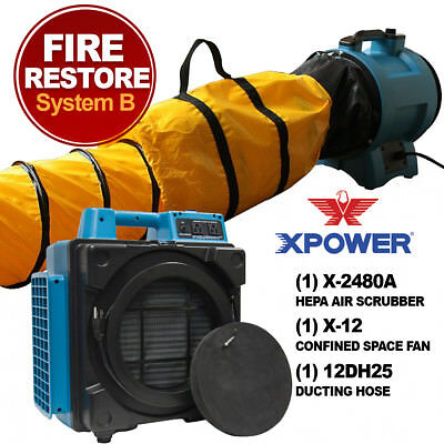 XPOWER X-2480A Smoke and Fire Restoration Air Filtration System with HEPA Filter