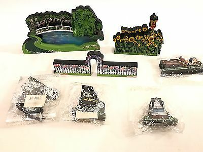 Lot Of 7 Shelia's Collectibles Lake/Pond/Trees/Houses 7 Pieces Wood Hand Made