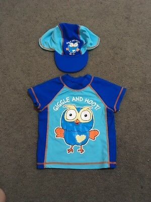 Baby Boys Short Sleeve Blue Giggle N Hoot Bather Top And Hat Size 1 EUC