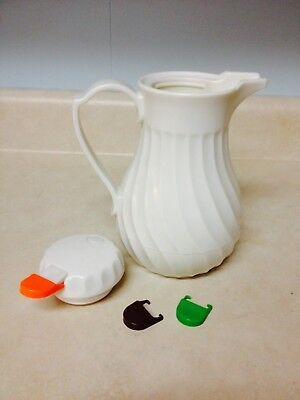 Swirl White Coffee / Tea / Water Server Carafe 42 oz Update International w/Tabs