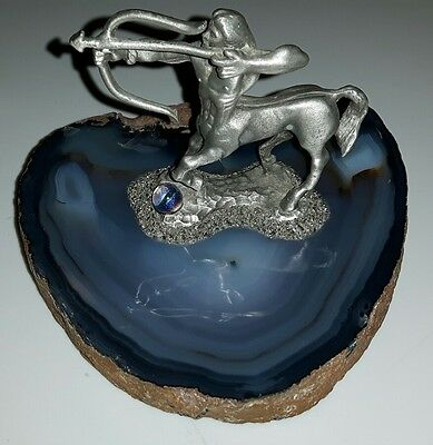 Vintage Centaur Statue Mounted On Rare Blue Agate Stone