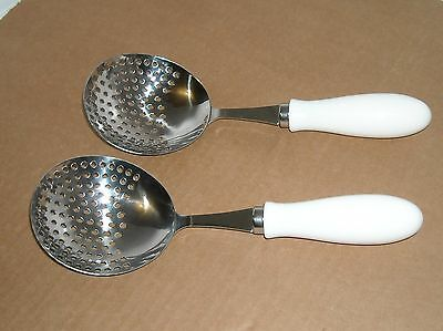 Stainless Steel Strainer Spoons Set of 2 New