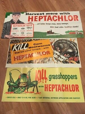Lot of 3 Vintage 1950's Farming Advertising Posters Pesticide Heptachlor Cool!