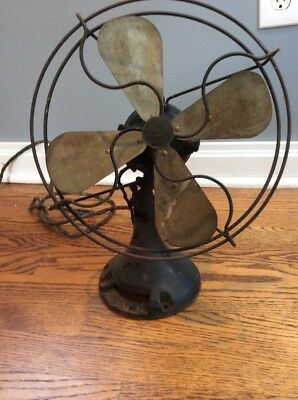 "Vintage 1920's Northwind 10"" Electric Brass Fan Type 450 OSCILLATING"