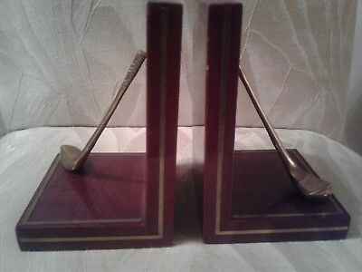 Collectible Golf Lover Brass/Cherry Bookends, Books Holder