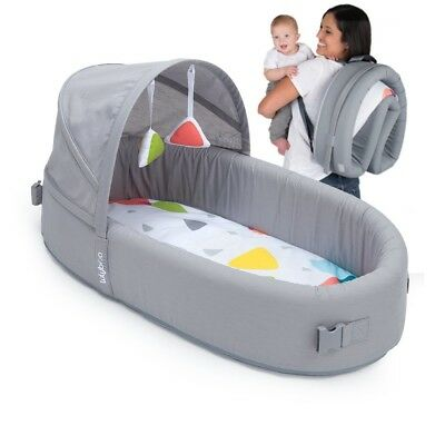 Portable Infant Bed Folds Into Backpack w/ Activity Bar Rattle Toys For Baby