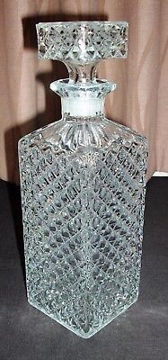 Large vintage clear glass whisky decanter
